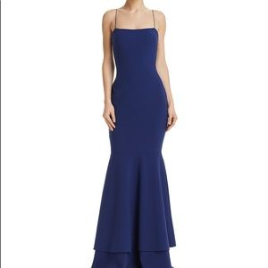 Likely Long Blue Mermaid/fitted flare dress.
